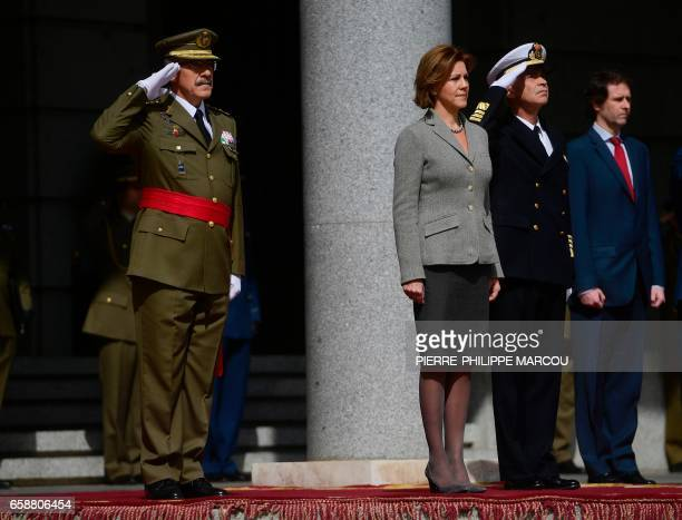 Former Chief of Defence General Admiral Fernando Garcia Sanchez and Spanish Minister of Defence Maria Dolores de Cospedal attend the swearingin...