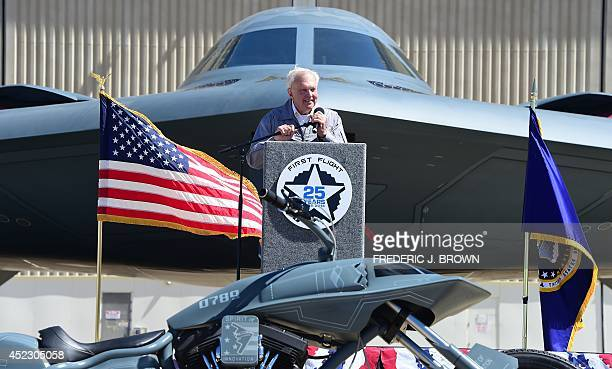 Former chief test pilot and first person to fly the B2 Stealth Bomber addresses the audience of employees at the Palmdale Aircraft Integration Center...