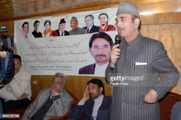 Former ChiefMinister Ghulam Nabi Azad addressing party workers at Khanabal Anantnag