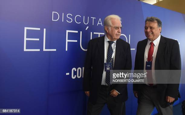 Former Chilean players Ignacio Prieto and Elias Figueroa arrive at the Conmebol headquarters in Luque Paraguay on May 17 2017 to participate in a...
