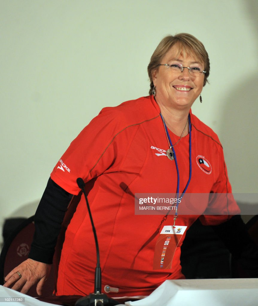 Former Chilean President Michelle Bachelet offers a press conference in Nelspruit on June 15, 2010 during the 2010 World Cup. Bachelet arrived in South Africa to support the Chile national football team, which will next face Honduras in a Group H match on June 16 in Nelspruit. AFP PHOTO / Martin BERNETTI