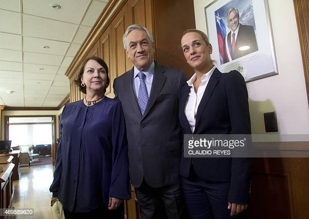 Former Chilean President Sebastian Pinera and the wives of Venezuelan opposition leaders Leopoldo Lopez and Antonio Ledezma Lilian Tintori and Mitzy...