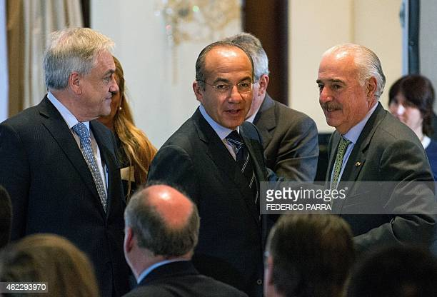 Former Chilean President Sebastian Pinera Mexican Felipe Calderon and Colombian Andres Pastrana attend a conference within the Citizen Congress being...