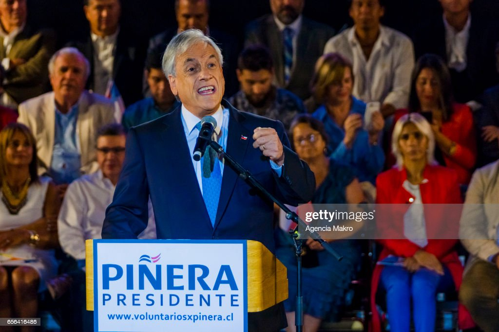 Former Chilean President Sebastián Piñera gives a speech after being proclaimed presidential candidate by right-wing parties for the 2017 Chilean Presidential Elections on March 21, 2017 in Santiago, Chile.