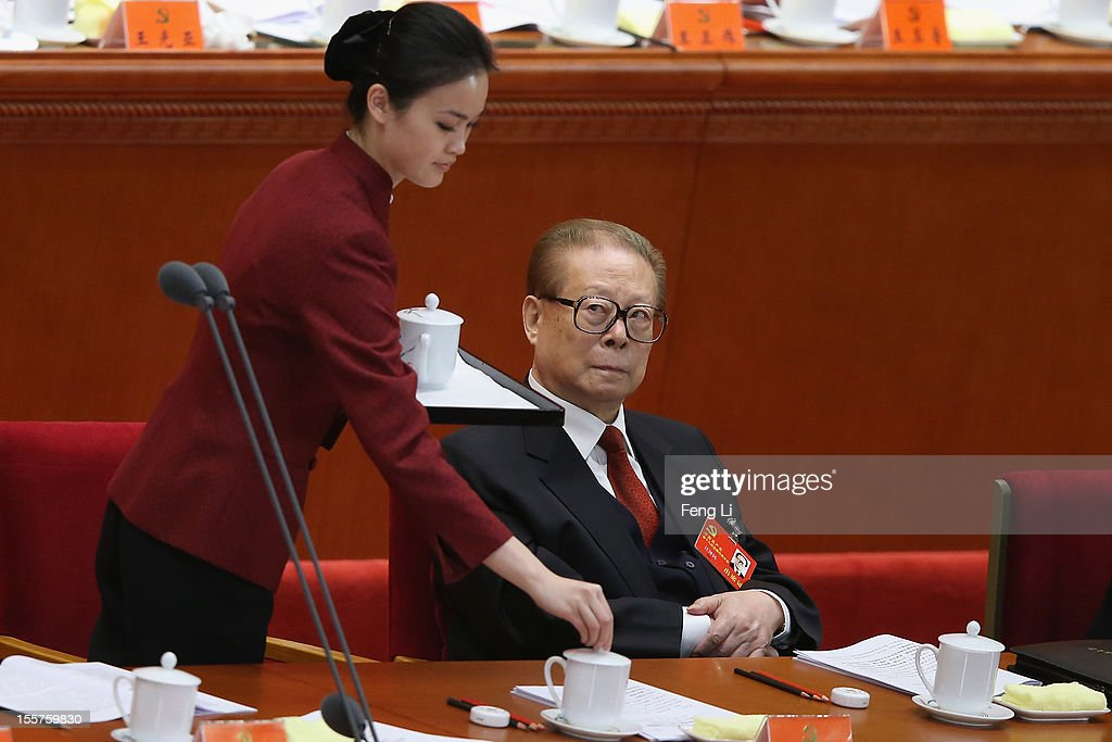 Former Chinese President Jiang Zemin attend the opening session of the 18th Communist Party Congress held at the Great Hall of the People on November...