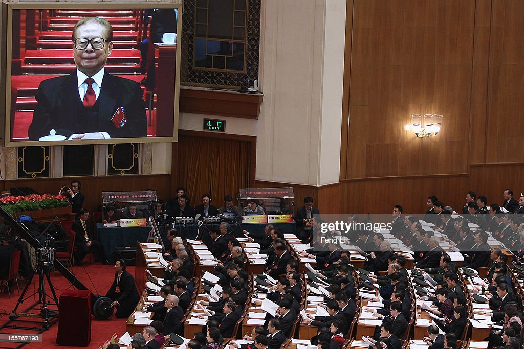 Former Chinese President Jiang Zemin attends the opening session of the 18th Communist Party Congress held at the Great Hall of the People on...
