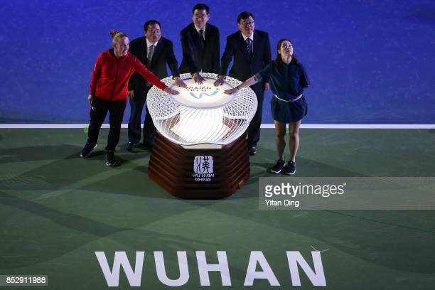 Former Chinese tennis player Li Na and tennis player Svetlana Kuznetsova look during the opening ceremony on Day 1 of 2017 Dongfeng Motor Wuhan Open...