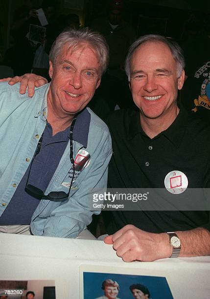 Former 'CHiPs' stars Paul Linke and Robert Pine pose at the Hollywood Collectors and Celebrity Show held at the Beverly Garland Holiday Inn January...