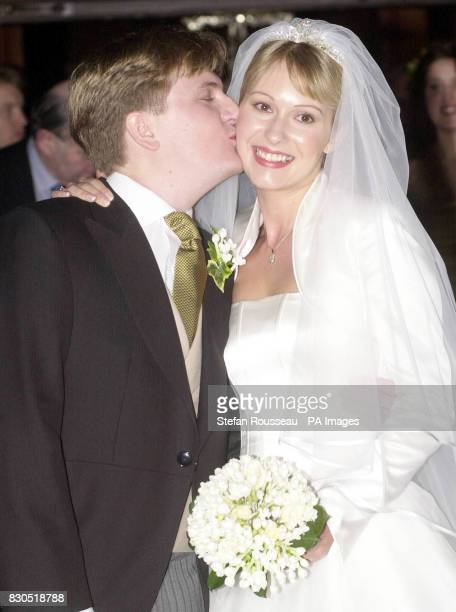 Former choirboy and TV's Songs of Praise presenter Aled Jones with his new bride Claire Fossett at St Paul's Church Covent Garden central London The...