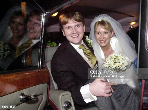 Former choirboy and TV's Songs of Praise presenter Aled Jones with his new bride Claire Fossett as they leave St Paul's Church Covent Garden central...