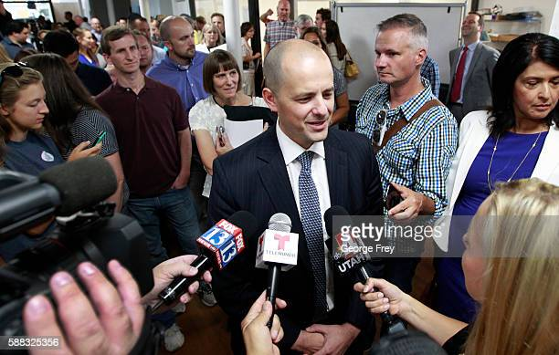 Former CIA agent Evan McMullin talks to to the media after announcing his presidential campaign as an Independent candidate on August 10 2016 in Salt...