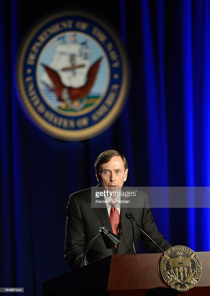 Former CIA director and retired four-star general General David Petraeus makes his first public speech since resigning as CIA director at University of Southern California dinner for students Veterans and ROTC students on March 26, 2013 in Los Angeles, California. Petraeus is expected to apologize in his speech for the extramarital affair that ended his career.
