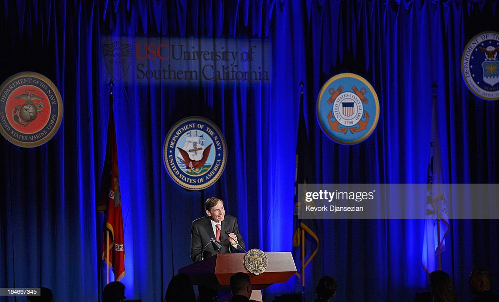 Former CIA director and retired four-star general General <a gi-track='captionPersonalityLinkClicked' href=/galleries/search?phrase=David+Petraeus&family=editorial&specificpeople=175826 ng-click='$event.stopPropagation()'>David Petraeus</a> makes his first public speech since resigning as CIA director at University of Southern California dinner for students Veterans and ROTC students on March 26, 2013 in Los Angeles, California. Petraeus is expected to apologize in his speech for the extramarital affair that ended his career.