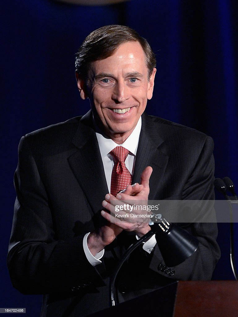 Former CIA director and retired four-star general General <a gi-track='captionPersonalityLinkClicked' href=/galleries/search?phrase=David+Petraeus&family=editorial&specificpeople=175826 ng-click='$event.stopPropagation()'>David Petraeus</a> makes his first public speech since resigning as CIA director at University of Southern California dinner for students Veterans and ROTC students on March 26, 2013 in Los Angeles, California. Petraeus apologized in his speech for his actions that lead to him resigning from the CIA.