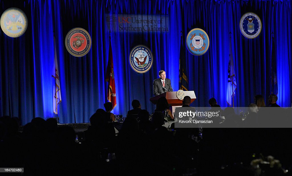 Former CIA director and retired four-star general General David Petraeus makes his first public speech since resigning as CIA director at University of Southern California dinner for students Veterans and ROTC students on March 26, 2013 in Los Angeles, California. Petraeus apologized in his speech for his actions that lead to him resigning from the CIA.