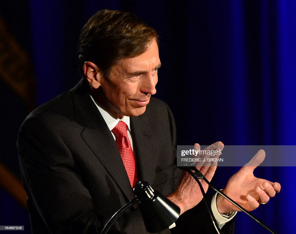 Former CIA director David Petraeus addresses a University of Southern California event honoring the military on March 26, 2013 in Los Angeles, California. In the first public appearance since stepping down last November as head of the CIA after admitting to an affair, Petraeus said he regretted and apologized for the circumstances that led to his resignation. AFP PHOTO / Frederic J. BROWN