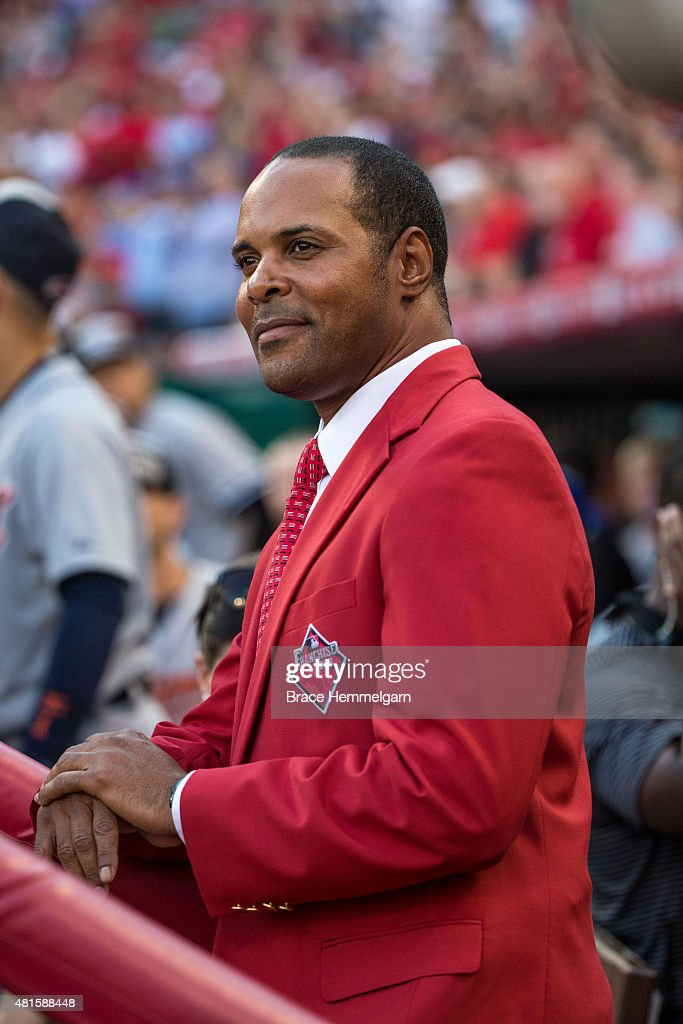 Former Cincinnati Reds player <a gi-track='captionPersonalityLinkClicked' href=/galleries/search?phrase=Barry+Larkin&family=editorial&specificpeople=204522 ng-click='$event.stopPropagation()'>Barry Larkin</a> looks on prior to the 86th MLB All-Star Game at the Great American Ball Park on July 14, 2015 in Cincinnati, Ohio. The American League defeated the National League 6-3.