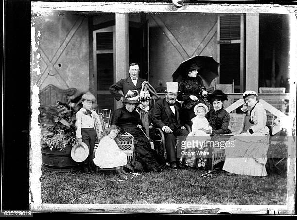 Former Civil War General and US President Ulysses S Grant sits for a family portrait with his wife Julia Dent Grant and their children and...