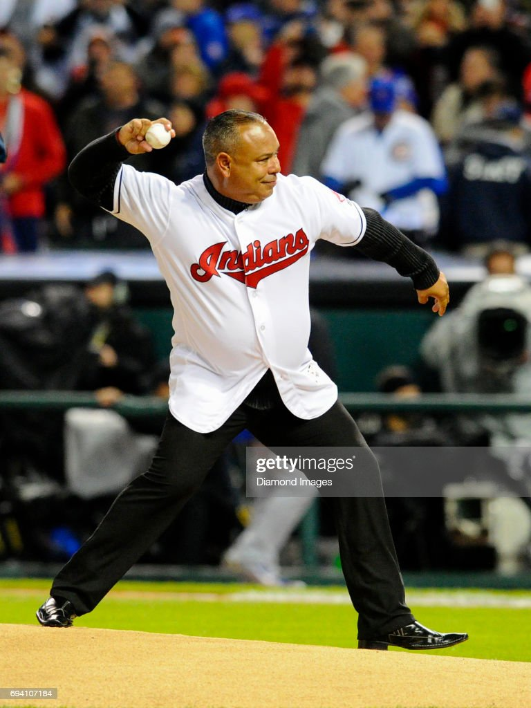 Former Cleveland Indians outfielder Carlos Baerga throws the ceremonial first pitch prior to Game 2 of the World Series on October 26, 2016 between the Chicago Cubs and Cleveland Indians at Progressive Field in Cleveland, Ohio. Chicago won 5-1. Nick Cammett/Diamond Images/Getty Images