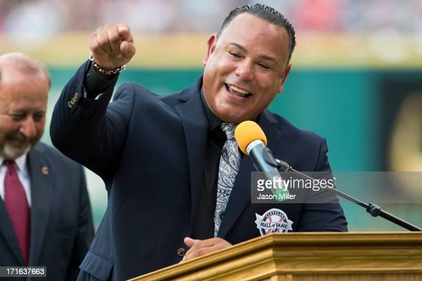 Former Cleveland Indians player Carlos Baerga during the Cleveland Indians Hall of Fame induction ceremonies prior to the game against the Minnesota...