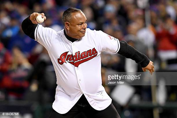 Former Cleveland Indians player Carlos Baerga throws out the ceremonial first pitch prior to Game Two of the 2016 World Series between the Chicago...