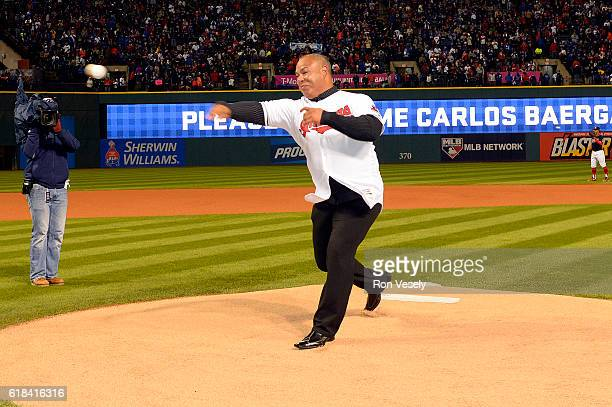 Former Cleveland Indians player Carlos Baerga throws out the ceremonial first pitch prior to Game 2 of the 2016 World Series between the Chicago Cubs...