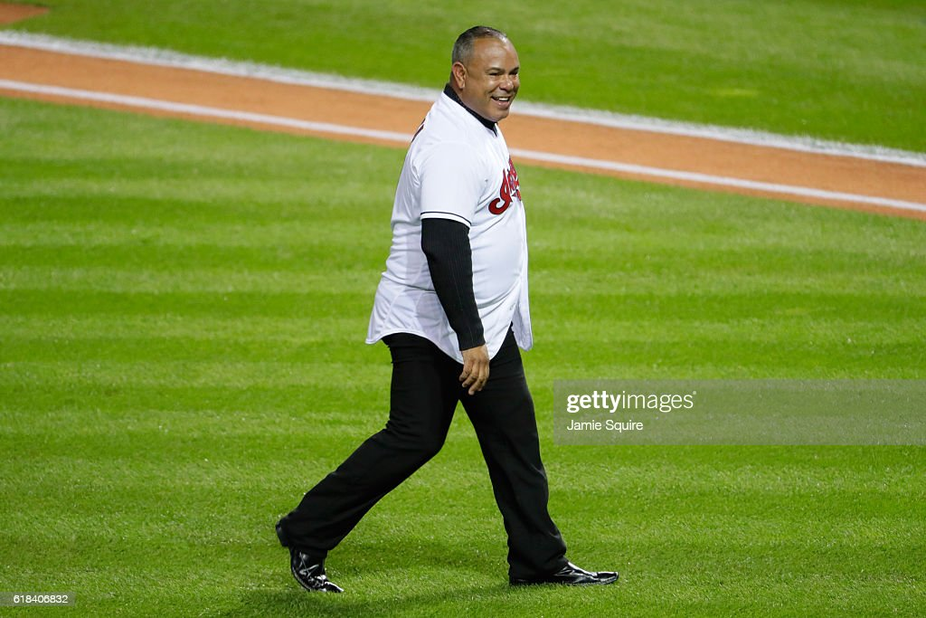 Former Cleveland Indians player Carlos Baerga walks on the field prior to throwing out the ceremonial first pitch before Game Two of the 2016 World Series between the Chicago Cubs and the Cleveland Indians at Progressive Field on October 26, 2016 in Cleveland, Ohio.