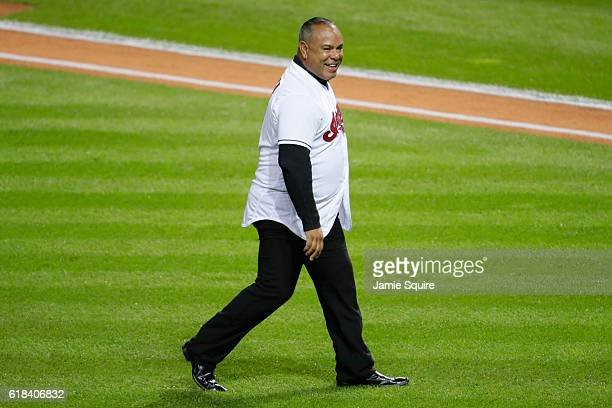 Former Cleveland Indians player Carlos Baerga walks on the field prior to throwing out the ceremonial first pitch before Game Two of the 2016 World...