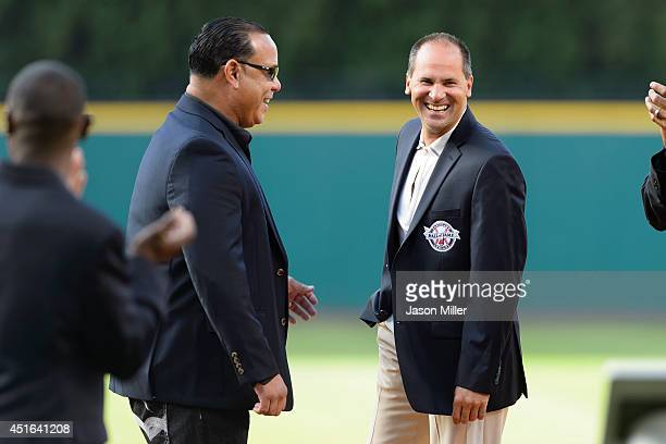 Former Cleveland Indians players and Indians Hall of Fame inductees Carlos Baerga and Omar Vizquel during induction ceremonies prior to the game...