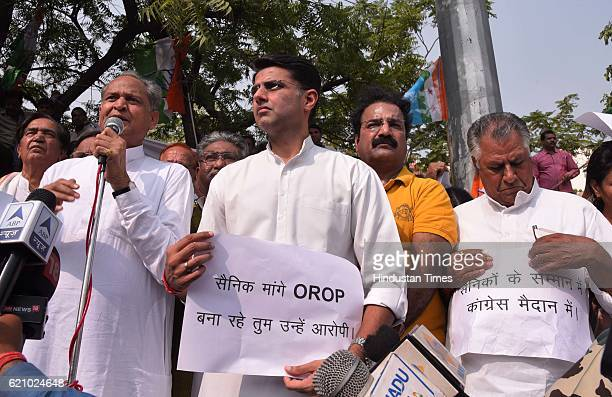Former CM Ashok Gehlot and state congress chief Sachin Pilot along with congress supporters held protest against detaining of Rahul Gandhi by Delhi...