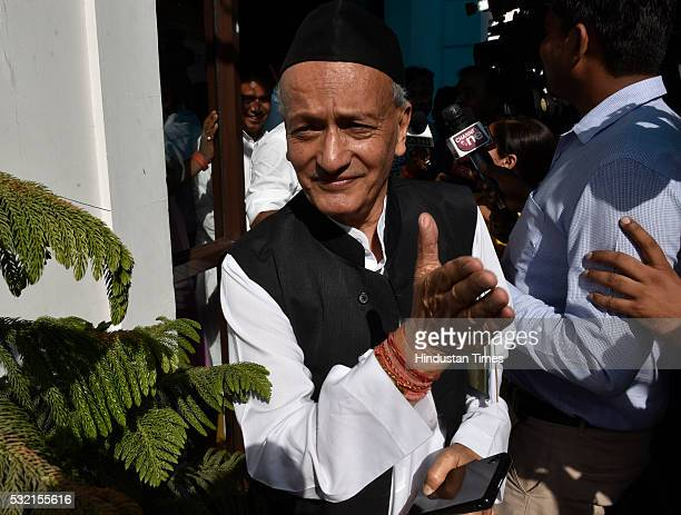 Former CM of Uttarakhand and veteran of the BJP and RSS Bhagat Singh Koshyari leaves after meeting with Uttarakhand BJP Party leaders with BJP Chief...