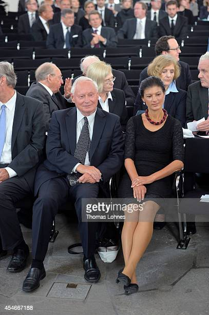 Former co chairman of German party's Die Linke Oskar Lafontaine and Sahra Wagenknecht attend a service of commemoration for Frank Schirrmacher at...