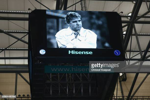 Former coach Joerg Berger on the video screen during the 20 years of Eurofighter match between Eurofighter and Friends and Euro All Stars at Veltins...