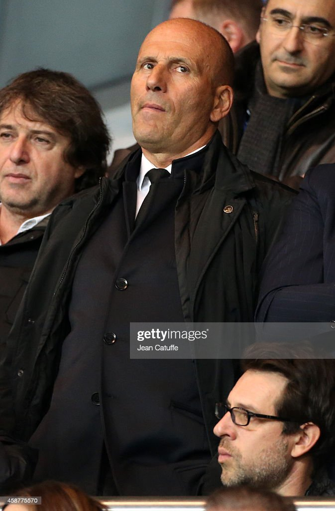Former coach of OM <a gi-track='captionPersonalityLinkClicked' href=/galleries/search?phrase=Elie+Baup&family=editorial&specificpeople=536928 ng-click='$event.stopPropagation()'>Elie Baup</a> attends the French Ligue 1 match between Paris Saint-Germain FC and Olympique de Marseille OM at Parc des Princes stadium on November 9, 2014 in Paris, France.