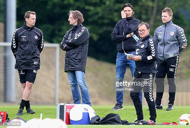 Former coach of Wolfsburg II Thomas Brdaric is seen during a St Pauli training session on June 22 2015 in Hamburg Germany