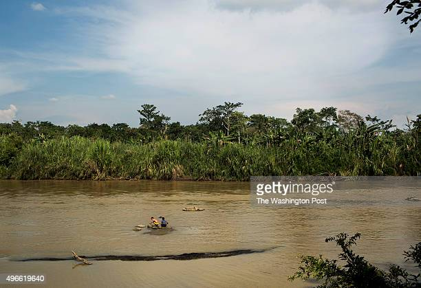Former coca farms that are now cultivating banana are seen on the other side of the river in Tierradentro on October 29 in Colombia With financial...