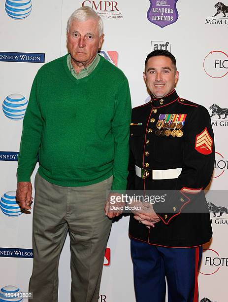 Former college basketball coach Bobby Knight and US Marine Sgt TJ Meranda arrive at Tony La Russa's 3rd annual Leaders Legends Gala benefitting the...