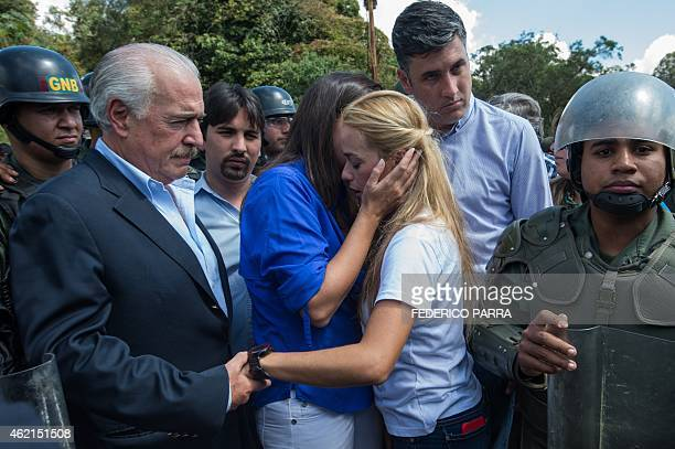 Former Colombian president Andres Pastrana and Venezuelan opposition leader Maria Corina Machado accompany Lilian Tintori wife of arrested opposition...