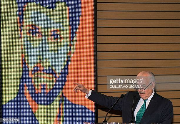 Former Colombian president Andres Pastrana speaks during the launch of Venezuela's jailed opposition leader Leopoldo Lopez's book 'Jailed but Free'...