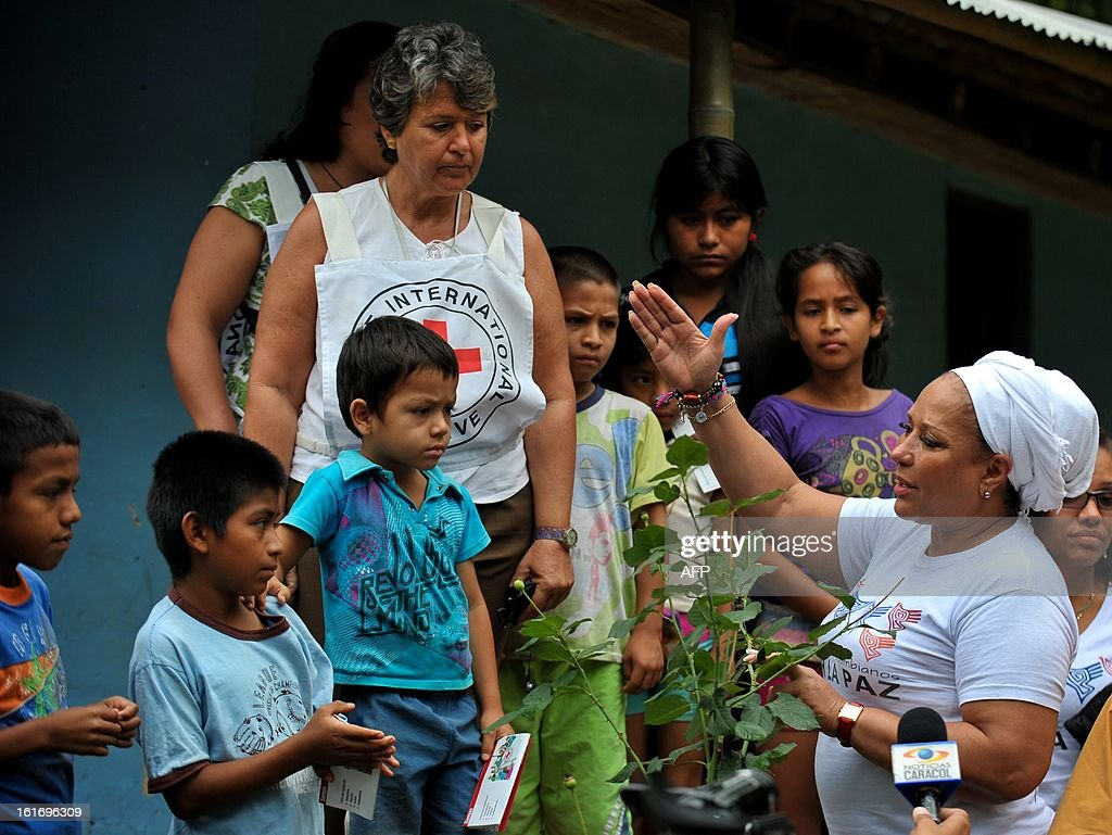 Former Colombian Senator Piedad Cordoba (R) speaks, next to ICRC delegate Maryse Limoner (C), with journalists and members of local communities, on their way to where the release of kidnapped policemen will occur, on February 14, 2013, in the village Campo Alegre, Cauca department, Colombia. Cristian Camilo Yate and Victor Alfonso Gonzalez, two police officers who were kidnapped by the FARC on January 25 in a rural area between the municipalities of Florida and Pradera, will be delivered to delegates of the International Committee of the Red Cross (ICRC) and a commission of NGOs 'Colombianas y Colombianos por la Paz', headed by former Colombian Senator Piedad Cordoba. In addition this commission expects this Saturday, the soldier is released Josue Alvarez, kidnapped on January 30 in a mountainous area of the department of Narino. The FARC ahead a peace process with the government of President Juan Manuel Santos, in Havana, Cuba.
