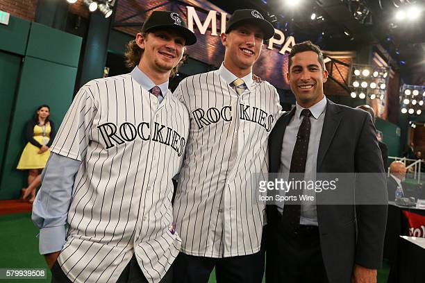 Former Colorado Rockies outfielder Ryan Spilborghs poses with Brendan Rodgers Shortstop from Lake Mary High School in Florida chosen by the Colorado...