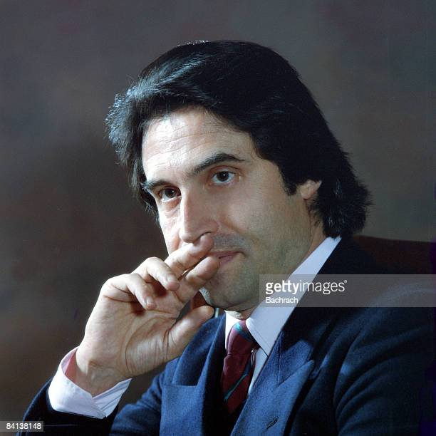 Former conductor of the Philadelphia Orchestra Riccardo Muti strikes a pensive pose with his hands poised against his lips 1984 Philadelphia...