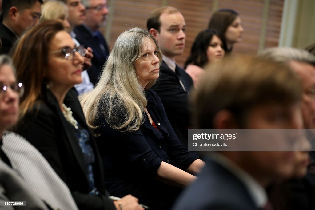 Former Congressional staffer Dorena Bertussi (C) attends a hearing of the House Administration Committee on preventing sexual harassment in Congress in the Longworth House Office Building on Capitol Hill December 7, 2017 in Washington, DC. Bertussi filed Capitol Hill's first successful harassment complaint in 1988 against former California Democratic Rep. Jim Bates.