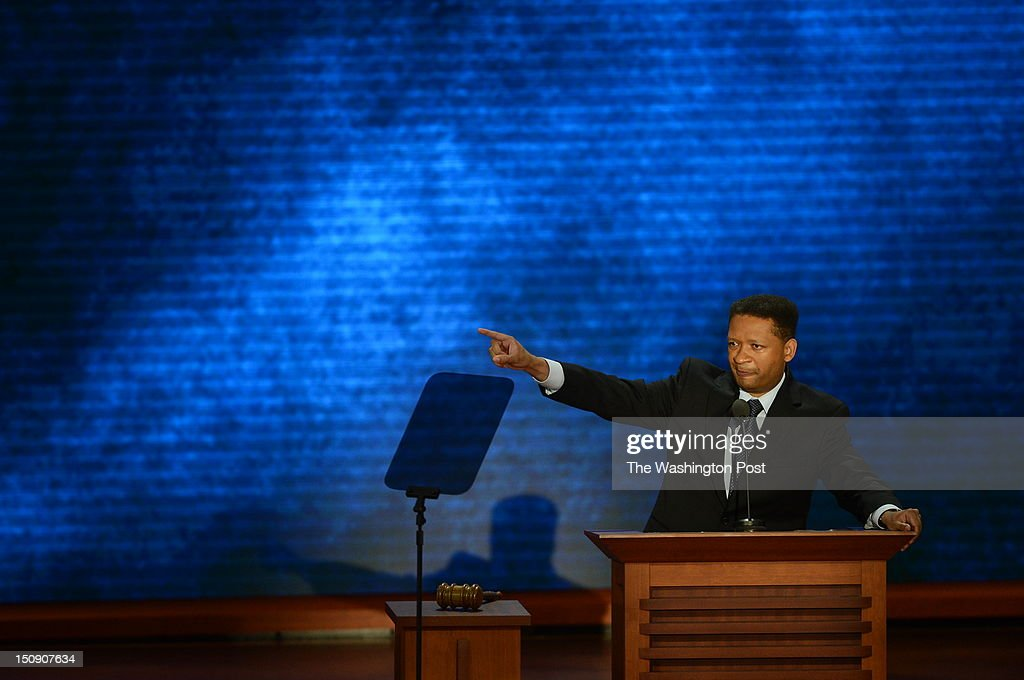 Former congressman Artur Davis speaks during the 2012 Republican National Convention at the Tampa Bay Times Forum on August 28 2012 in Tampa Florida