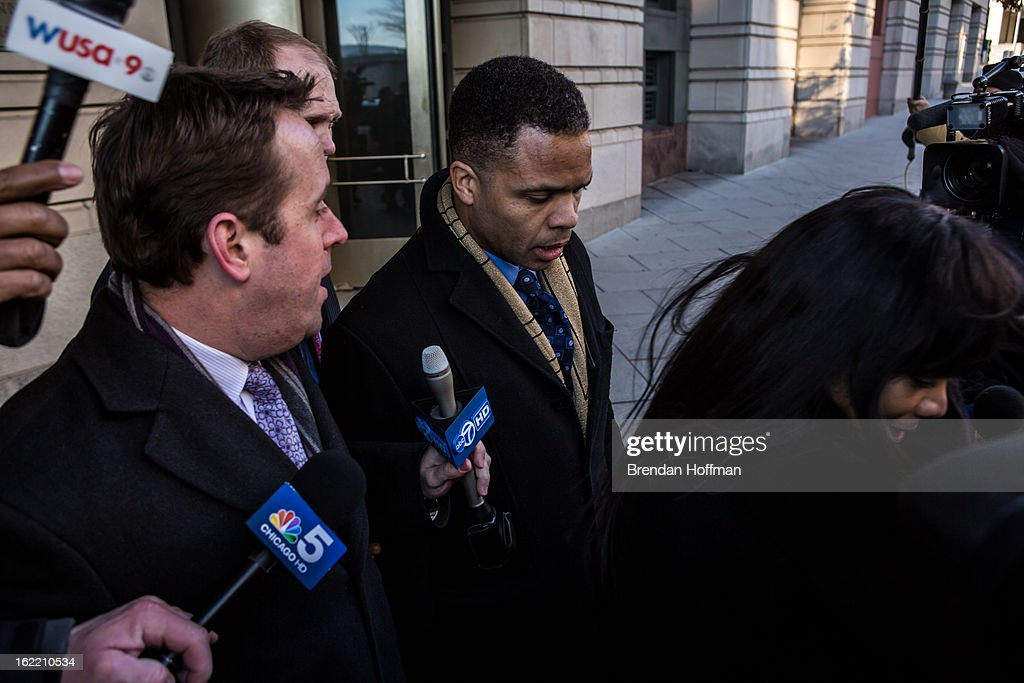 Former Congressman Jesse Jackson, Jr. and his wife, former Chicago alderman Sandi Jackson (R), leave the U.S. District Court for the District of Columbia on February 20, 2013 in Washington, DC. Both Jacksons plead guilty to federal charges of spending more than $750,000 in campaign cash on personal expenses.