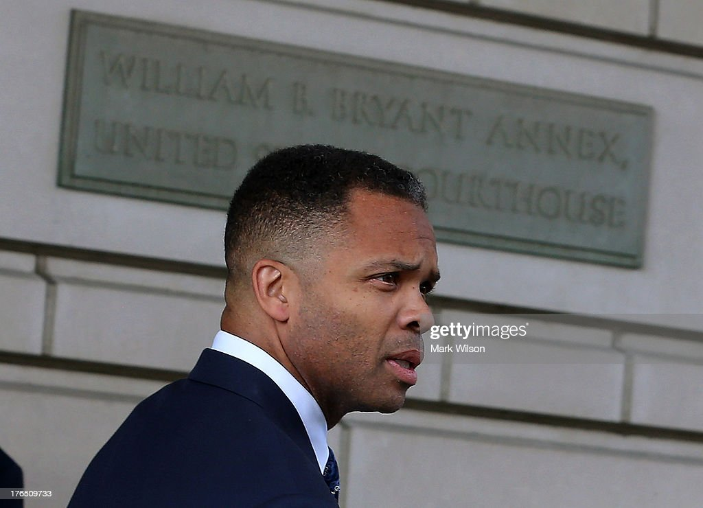 Former Congressman <a gi-track='captionPersonalityLinkClicked' href=/galleries/search?phrase=Jesse+Jackson+Jr.&family=editorial&specificpeople=1107074 ng-click='$event.stopPropagation()'>Jesse Jackson Jr.</a> leaves the federal court house after being sentenced to prison, August 14, 2013 in Washington, DC. Jackson was sentenced to 30 months in prison for using $750, 000 in campaign money to pay for living expenses and luxury items.