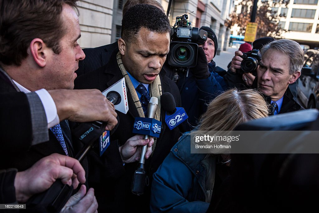 Former Congressman Jesse Jackson, Jr. leaves the U.S. District Court for the District of Columbia on February 20, 2013 in Washington, DC. Both Jacksons plead guilty to federal charges of spending more than $750,000 in campaign cash on personal expenses.