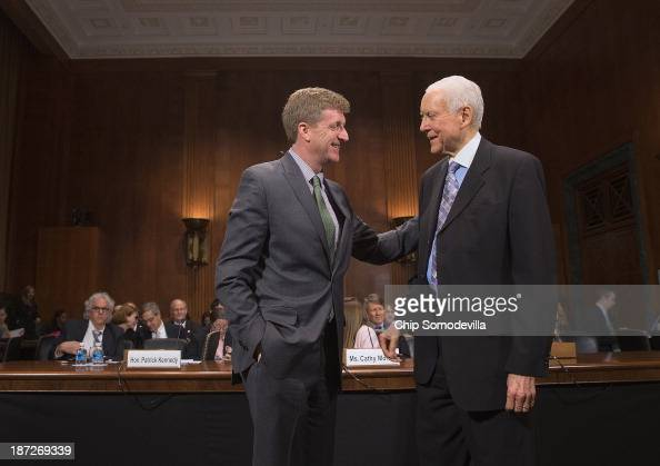 former Congressman Patrick Kennedy is welcomed by Sen Orrin Hatch the ranking member of the Senate Judiciary Committee's Oversight Federal Rights and...