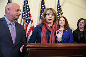 Former Congresswoman and handgun violence survivor Gabby Giffords speaks during a news conference with her husband Mark Kelly Rep Elizabeth Esty and...