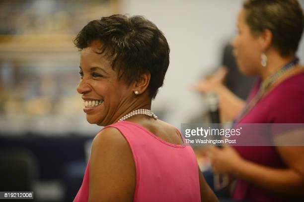 Former Congresswoman Donna Edwards holds a town hall meeting with a group of labor activists at the headquarters of UFCW Local 400 in Hyattsville MD...